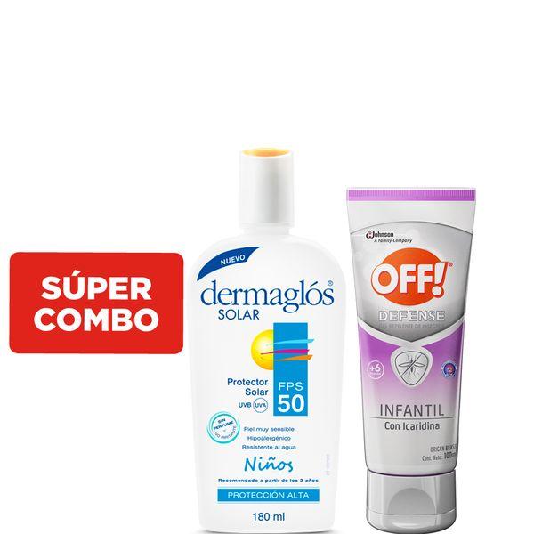 combo-protector-solar-dermaglos-fps-50-niños-x-180-ml-mas-repelente-de-mosquitos-off-defense-infantil-gel-x-100-ml